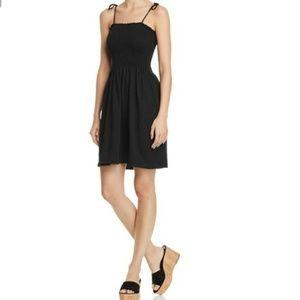 AQUA SMOCKED TIE SHOULDER RUFFLE Dress